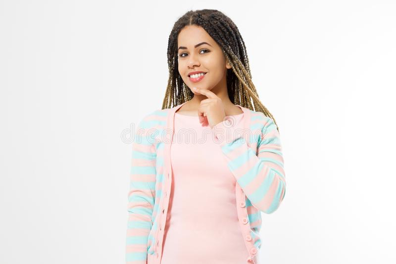 African american girl in fashion clothes  on white background. Woman hipster with afro hair style. Copy space stock images