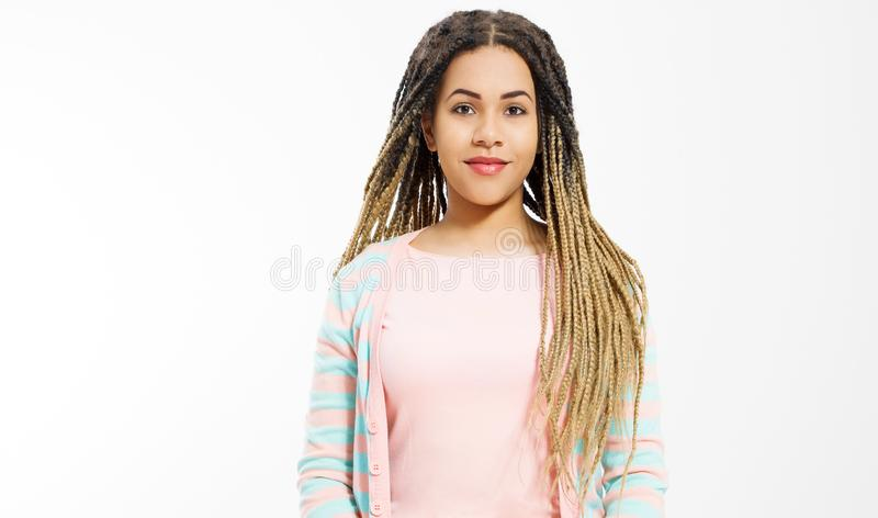 African american girl in fashion clothes  on white background. Woman hipster with afro hair style. Copy space. Banner royalty free stock photos