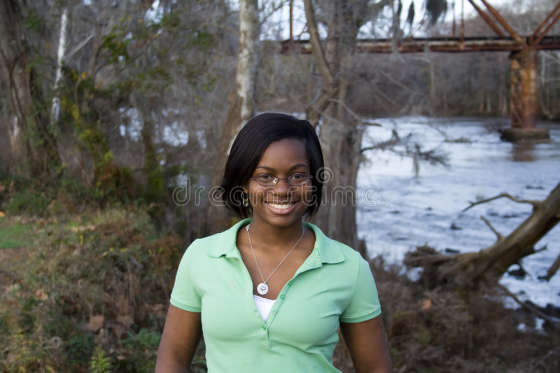 Download African American Girl In Front Of River Stock Image - Image of water, minority: 4158525