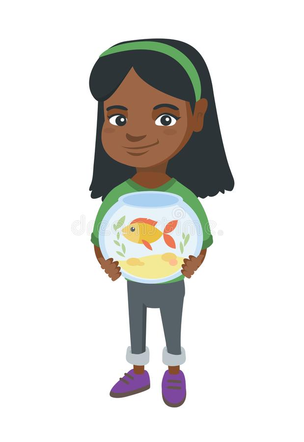 African girl holding aquarium with goldfish. African-american girl holding aquarium with goldfish. Full length of smiling little girl holding bowl with pet fish stock illustration