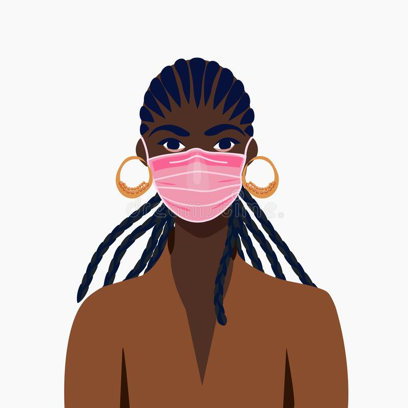 Free African American Girl In Face Mask. COVID-19 Conceptual Vector Illustration Stock Photo - 181170560