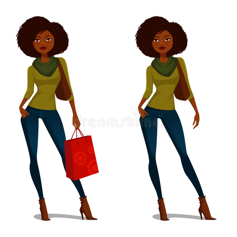 African American girl shopping. In casual outfit stock illustration