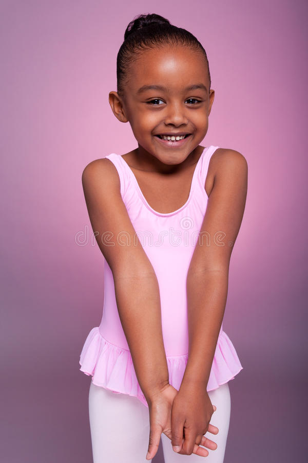 African American girl wearing a ballet costume stock photography