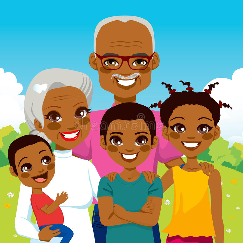African American Grandparents With Grandchildren. Cute African American Grandparents With Grandchildren family together on park smiling happy stock illustration