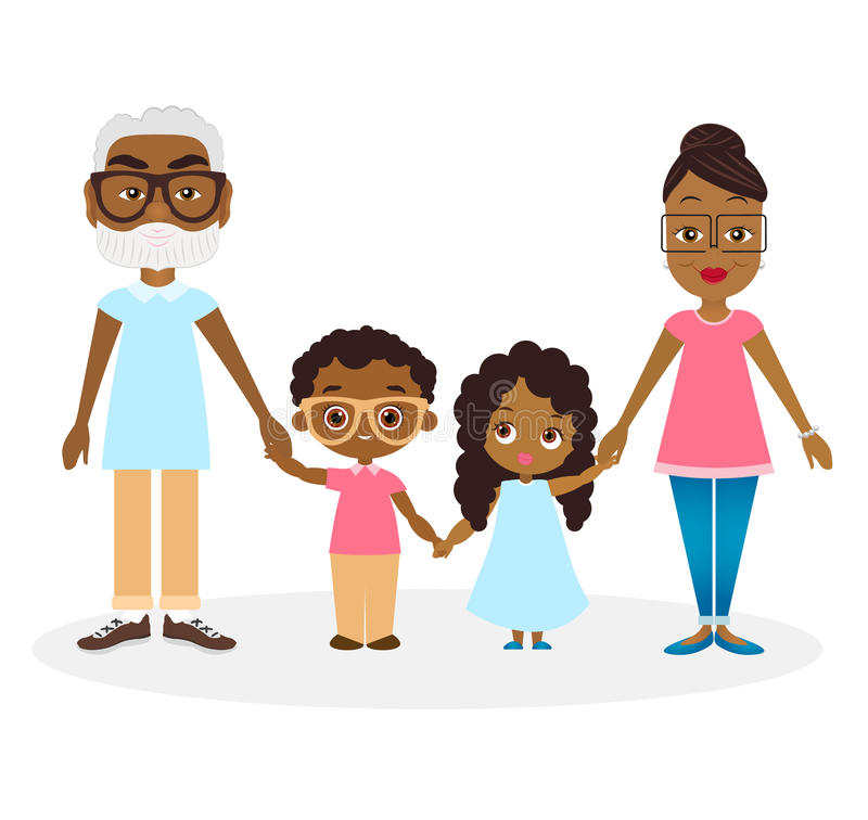 African american Grandparents with grandson and granddaughter. Happy African american family hold hands. Vector illustration eps 1. African american Grandparents stock illustration