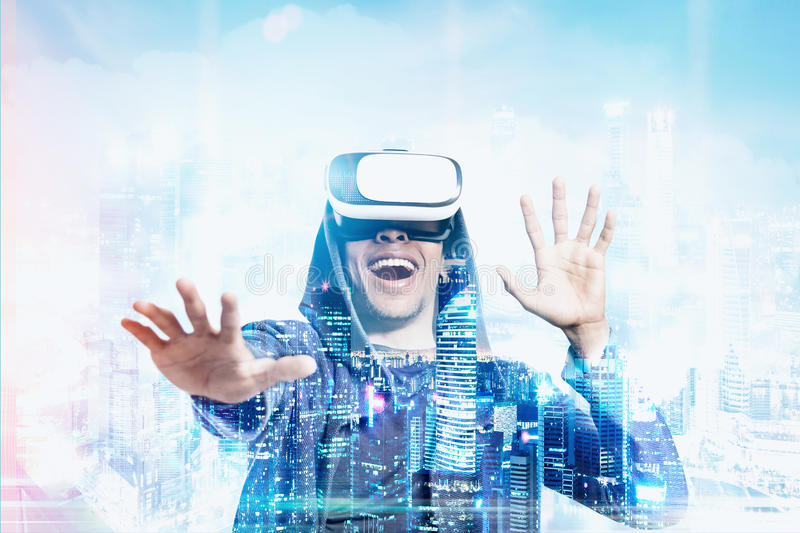 Download African American Guy Playing A Vr Game Stock Photo - Image: 83722818