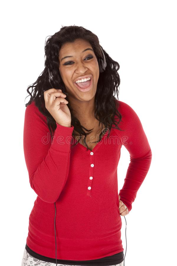 African American headset laugh royalty free stock photos