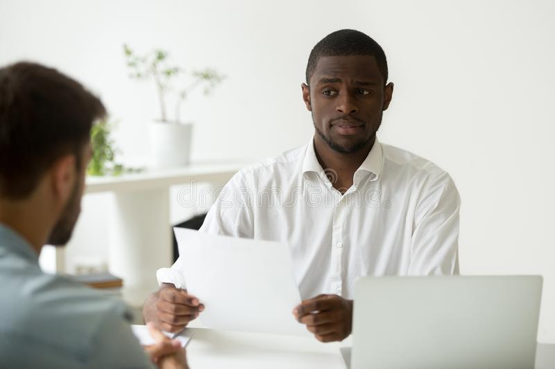 Download African-american Hr Manager Looking Doubtful Skeptical About Hir Stock Photo - Image of diversity, hire: 109506022