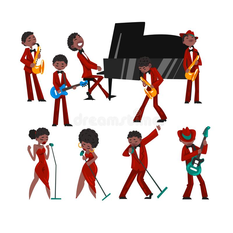 African American jazz band, black men and women singing, different musical instruments vector Illustration on a white vector illustration