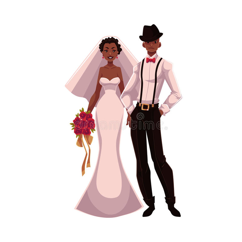 African American Just Married Couple, Black Bride And