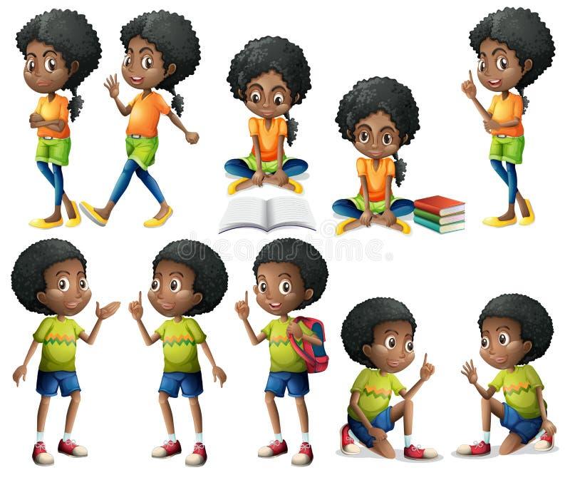 African-American kids stock illustration