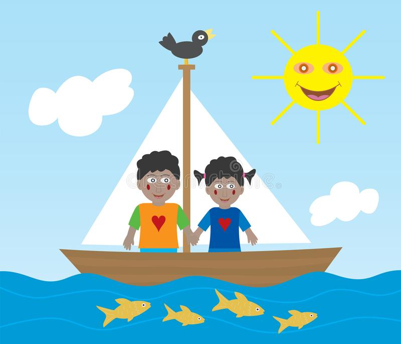 African American kids on sailing adventure royalty free illustration