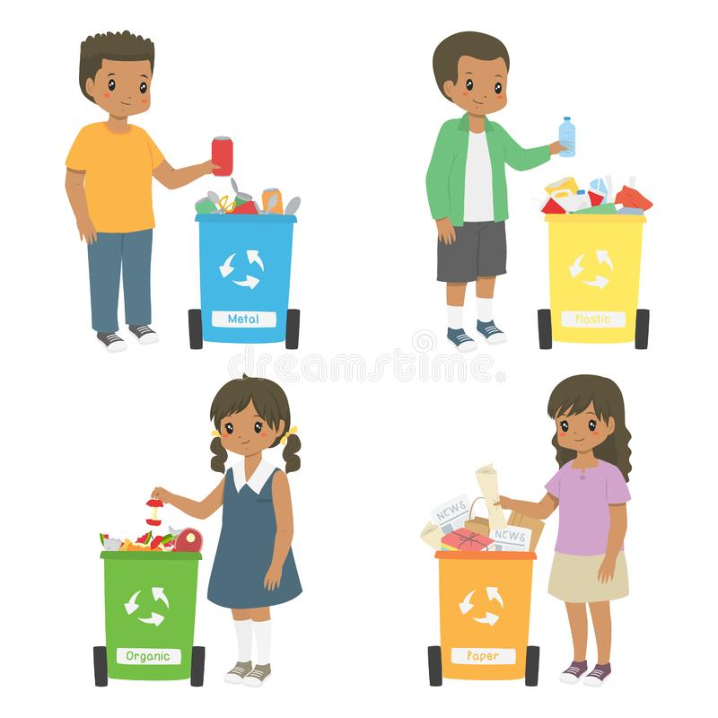 African American Kids Sorting Trash for Recycling Vector Set stock image