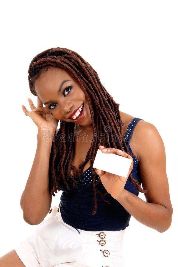 African American Lady Holding Business Card. Stock Image - Image of ...