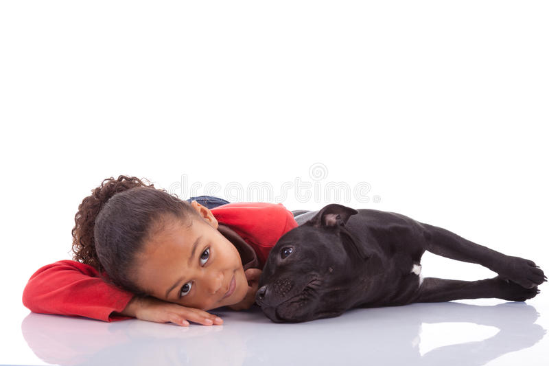 African American little girl with her pet royalty free stock images