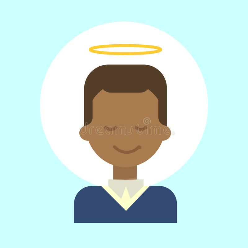 African American Male With Angel Nimbus Emotion Profile Icon, Man Cartoon Portrait Happy Smiling Face. Vector Illustration royalty free illustration