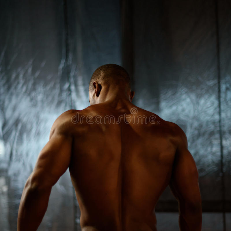 African american male body builder posing on a studio background. Back view.  stock photo