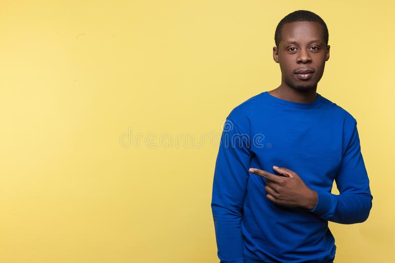African American male pointing on empty space royalty free stock photos