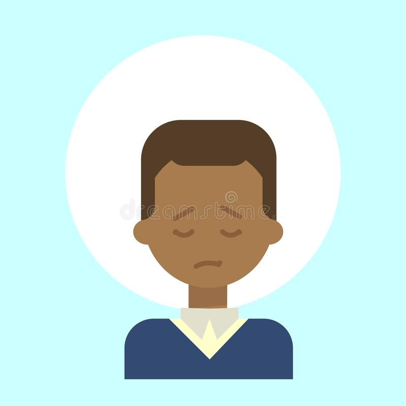 African American Male Sad Emotion Profile Icon, Man Cartoon Portrait Face royalty free illustration