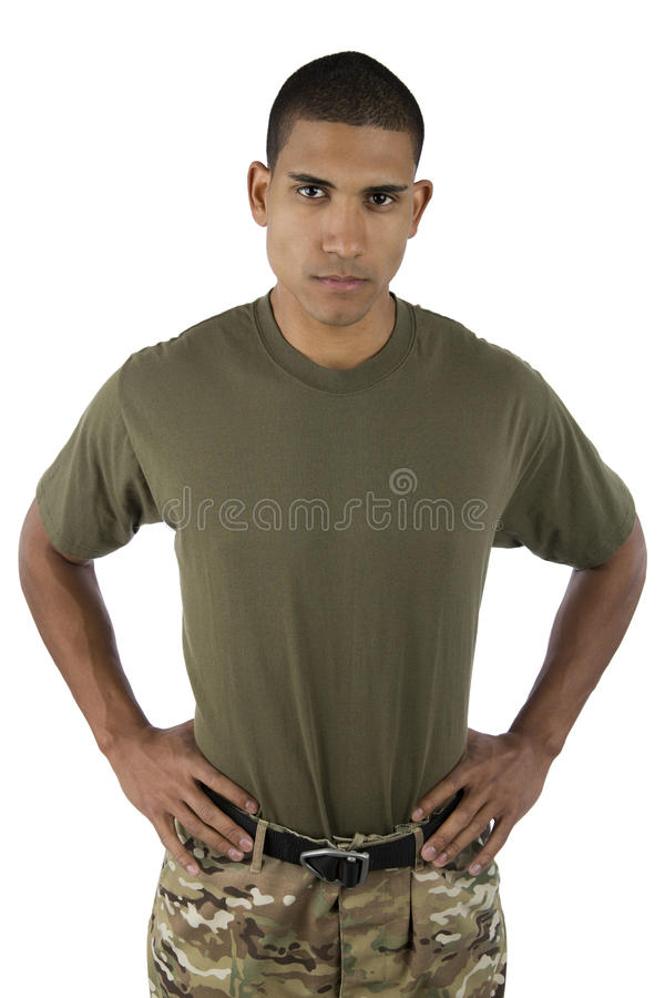 African American male serviceman royalty free stock photography