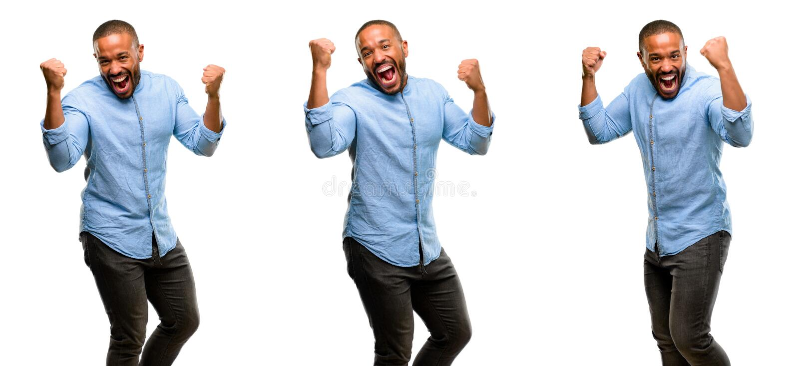 African young man isolated over white background stock photo