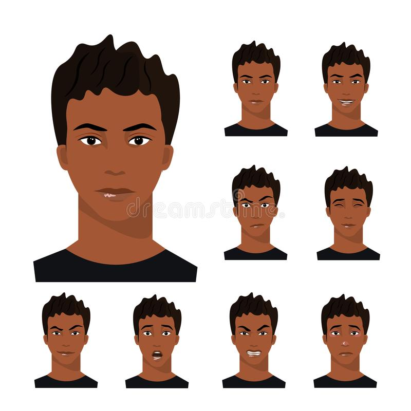 African-American man with different emotions. Vector illustration royalty free illustration