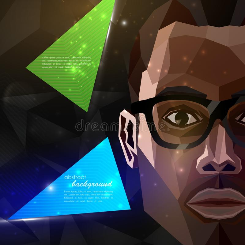 African american man face in polygonal style. modern poster, flyer with fashion, beauty or entertainment concept stock illustration