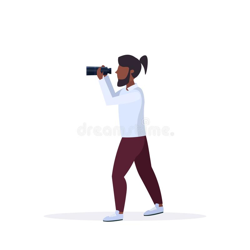 African american man looking through distance binoculars male cartoon character standing pose full length white stock illustration