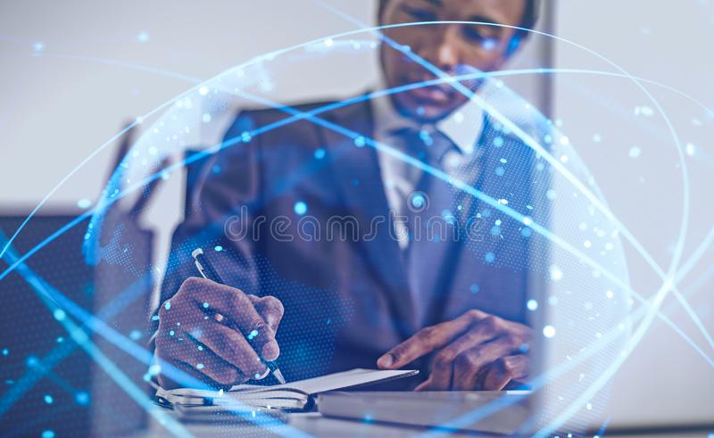 African American man in office, digital world stock photography