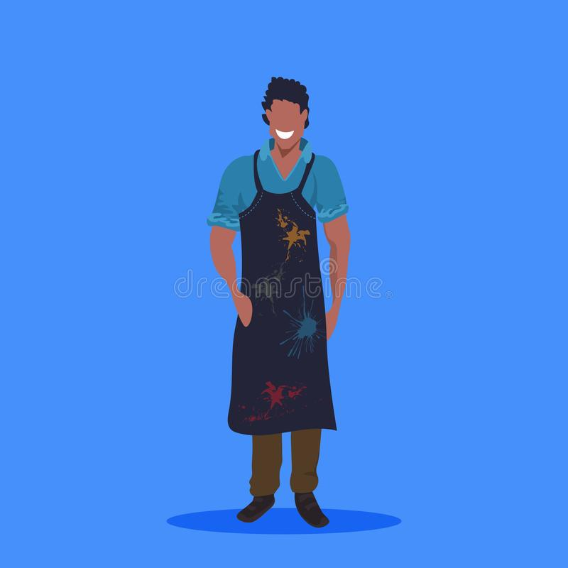 African american man painter in dark apron standing pose happy male cartoon character full length flat blue background stock illustration
