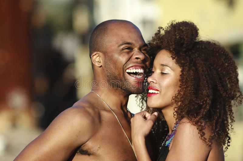 African-American man and women stock photo