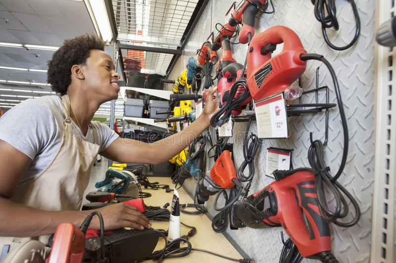 African American man working in an electronics store royalty free stock images