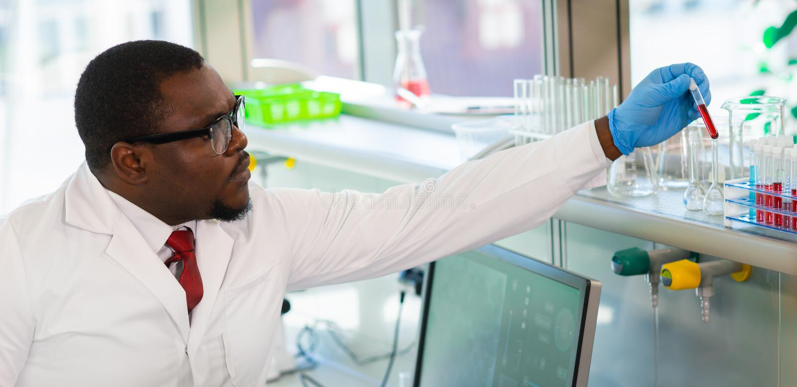 African-american medical doctor working in research lab. Science assistant making pharmaceutical experiments. Chemistry. African-american Medical doctor working royalty free stock photo