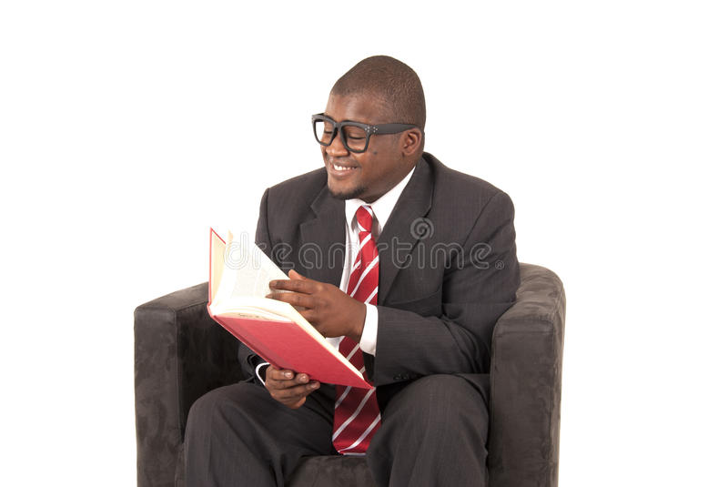 Download African American Model In Gray Business Suit Laughing While Reading Stock Photo - Image: 34335966