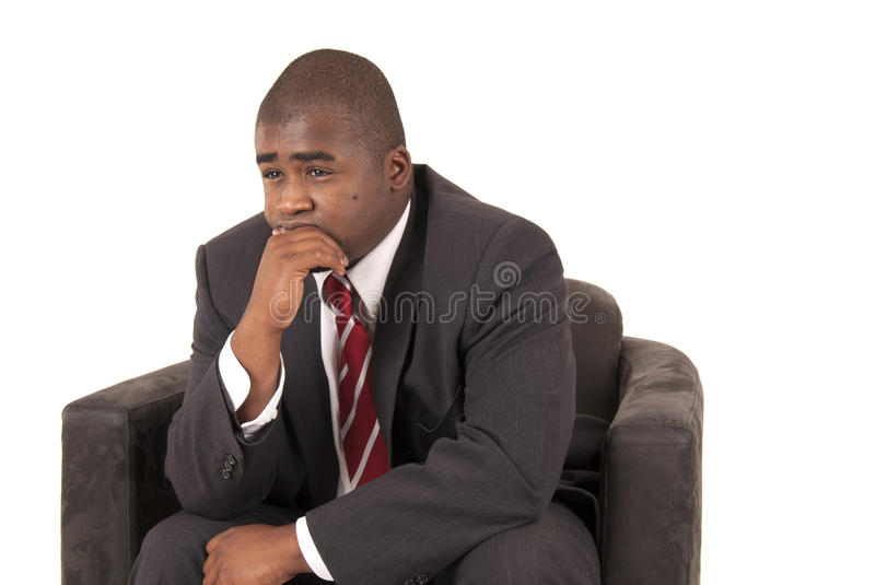 African American model in gray business suit red striped tie stock photo