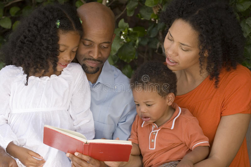African American mother and father and their children. royalty free stock photos