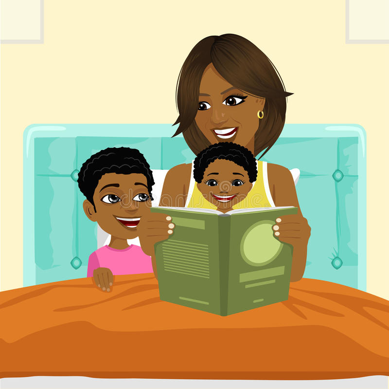 African american mother reading a book to son and daughter in bed before going to sleep vector illustration