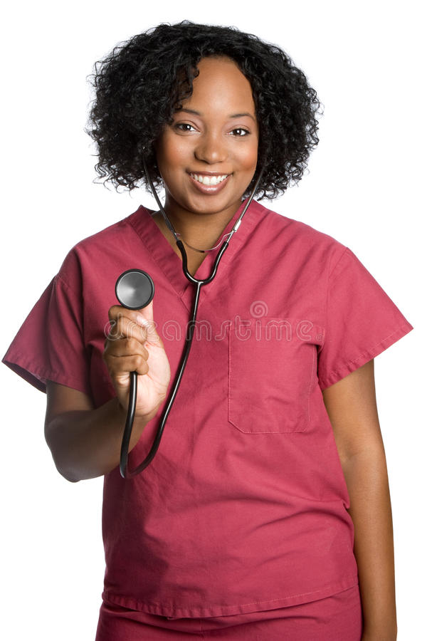 African American Nurse. Happy african american nurse smiling royalty free stock photography