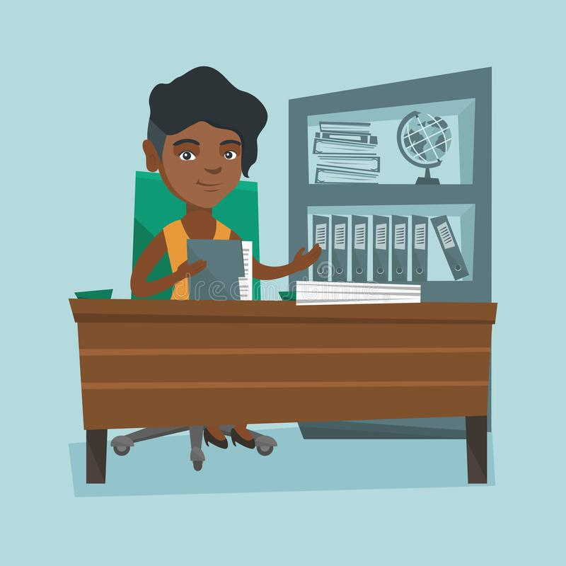 African office worker working with documents. African-american office worker working with documents. Young female office worker sitting at the table with stock illustration