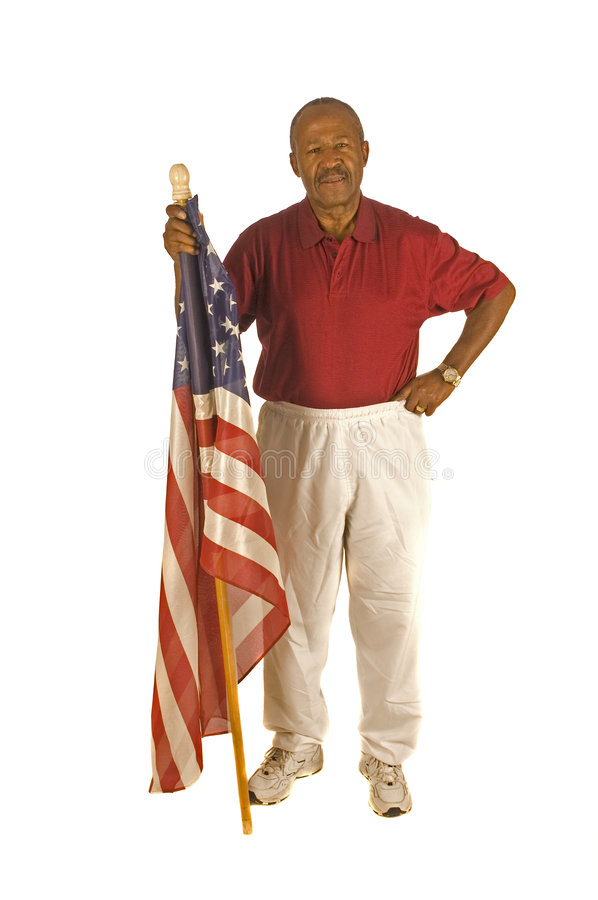 African American Patriot with flag. Isolated over white stock photography