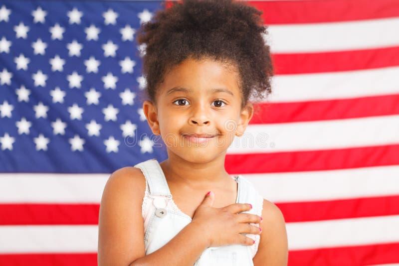 African-American patriotic girl stock image