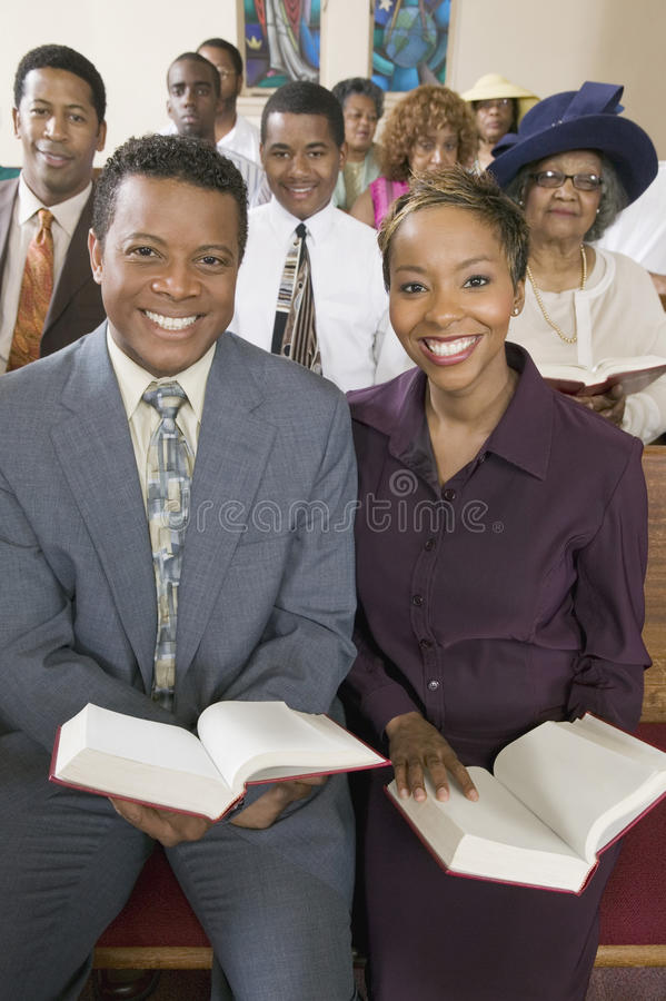 African American People At The Church. Portrait of smiling African American people at the church royalty free stock image