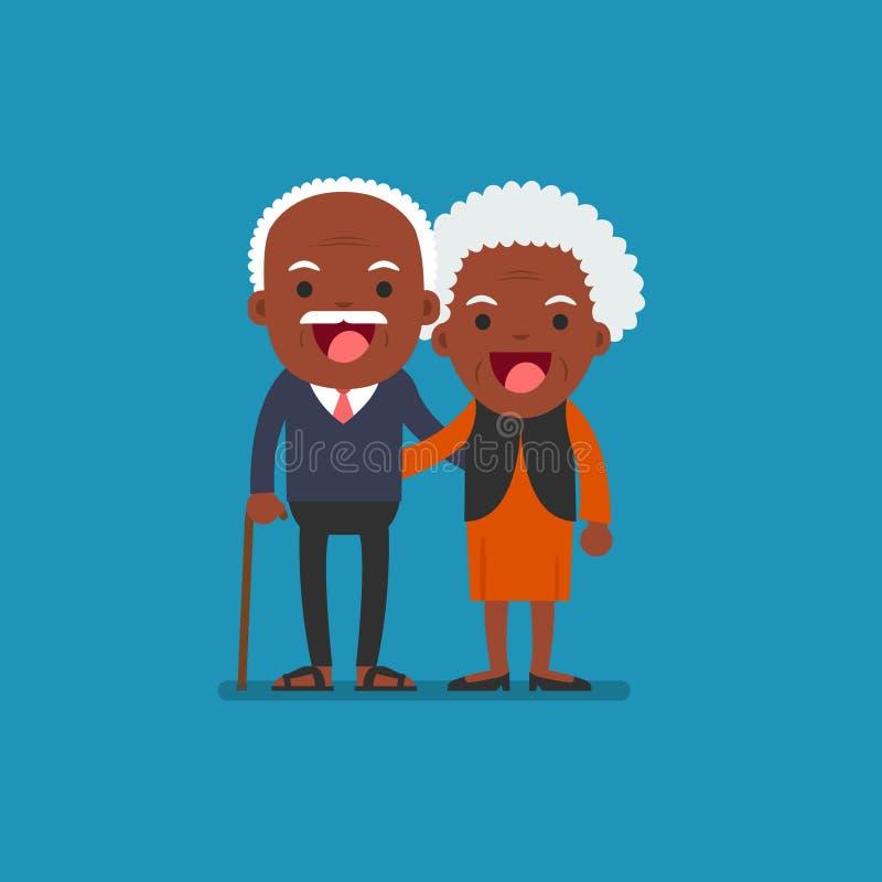 African american people - Retired elderly senior age. Retired elderly senior age couple in creative flat character design   Grandpa and grandma standing full royalty free illustration