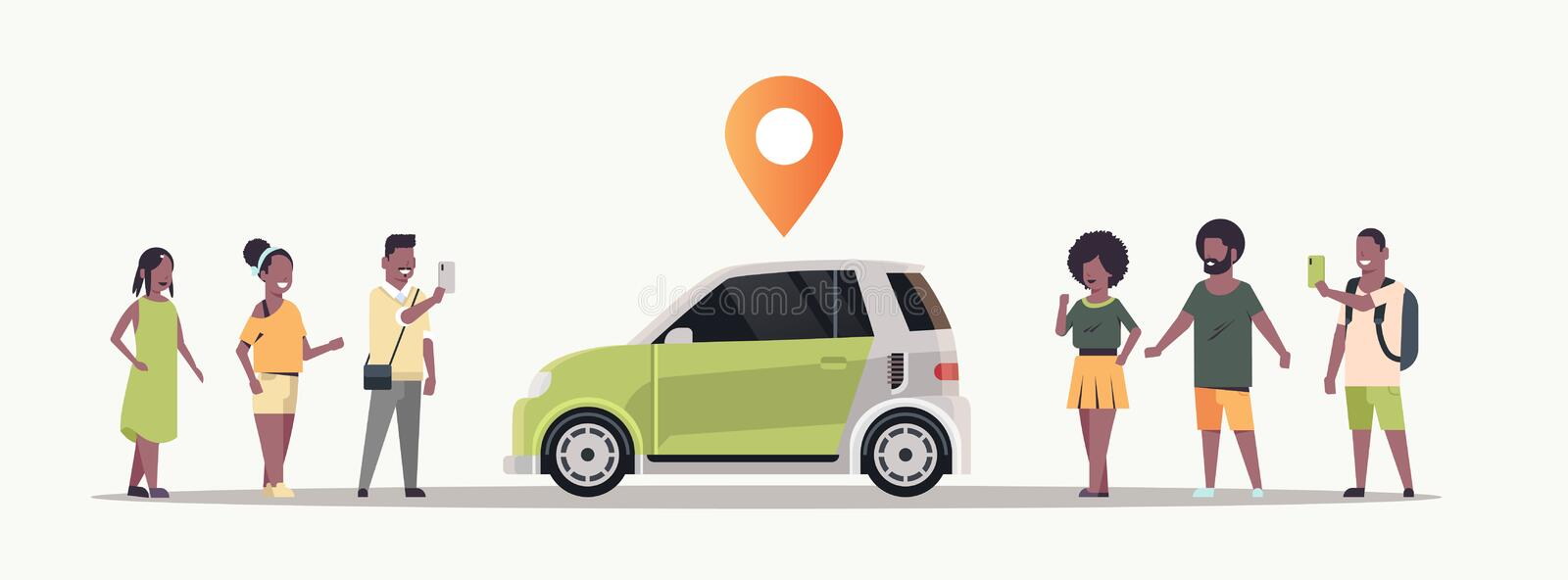 African american people using mobile application ordering auto with location pin online taxi car sharing carpooling royalty free illustration