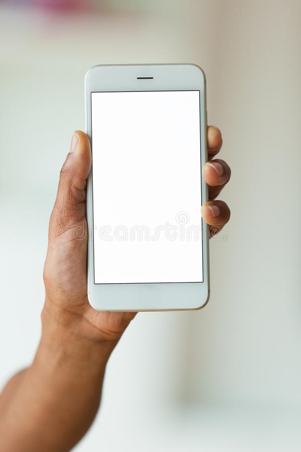 Download African American Person Holding A Tactile Mobile Smartphone - Bl Stock Photo - Image of relaxed, adult: 65325734