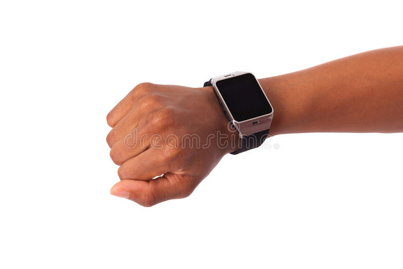African American person wearing a smart watch, isolated on white. Background stock image