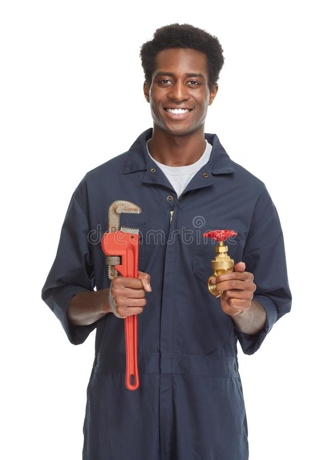 African American Plumber. royalty free stock photography