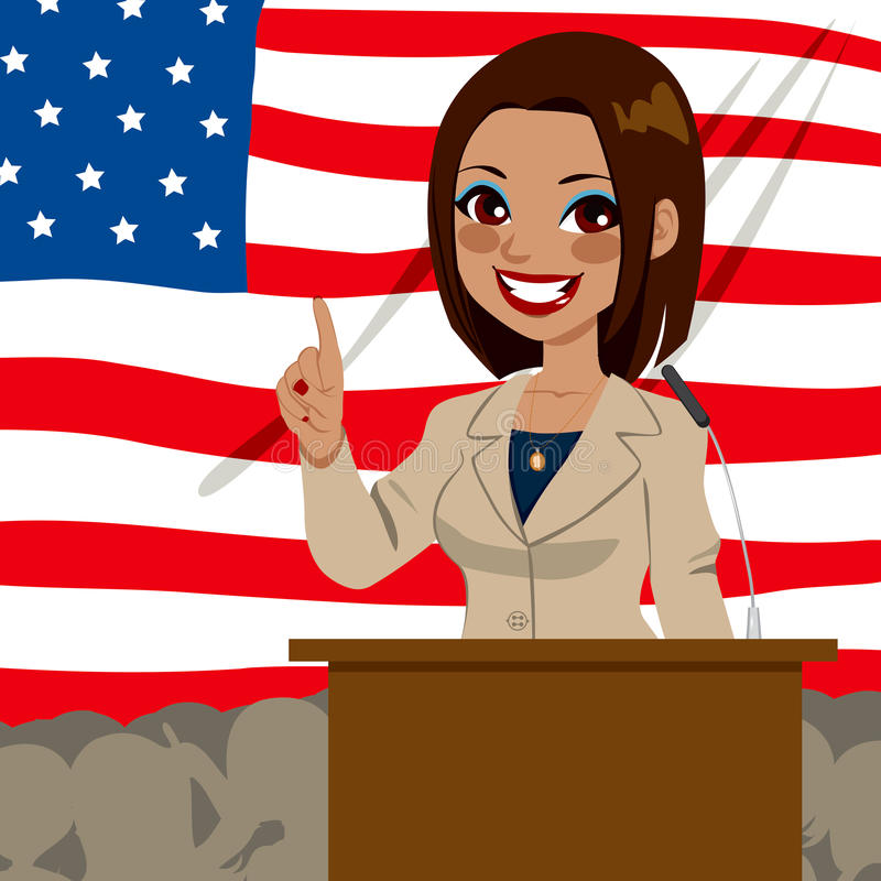 African American Politician Woman Flag royalty free illustration