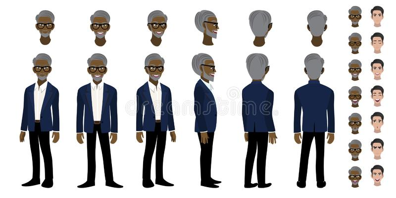 African American Professor cartoon character head set and animation. Front, side, back, 3-4 view character. Flat icon design stock illustration