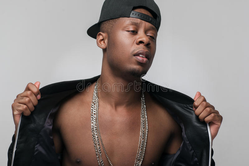 African american rapper. Present youth problems. stock photography